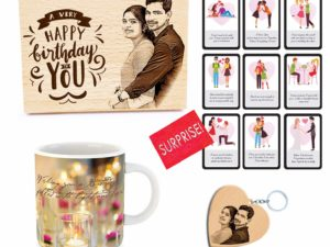 Birthday Combo of Personalized Engraved Photo Frame, 9 Cards, Mug and Customized Keychain For Best Friend (Wood, 5x4in Mug,315ml)