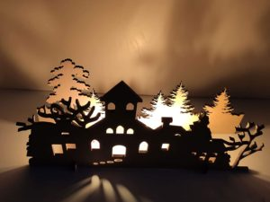 Christmas Decorations DIY Creepy House Shadow Light without Candle (Wood, 10×5.5 Inches)