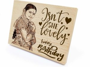 Combo Personalised Engraved Wooden Photo Plaque and Heart Shaped Wood Keychain for Birthday (13×9.5cm, 5 cms)