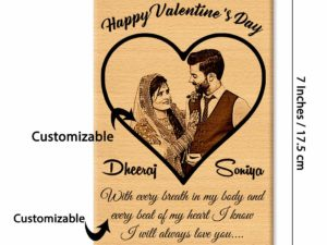 Valentine Gift Combo of Engraved Photo Frame and Heart Shape...