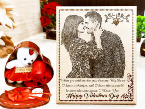 Valentine's Day Combo Gift of Custom Wooden Frame and ...