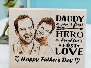 Father's Day Customized Engraved Wooden Frame Daughter's Letter for Dad (9×7 Inches)