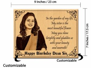 Customized Wooden Engraved Photo Gift for Sister on Her Birthday (9x7in, Wood)