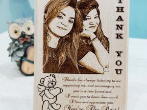 Personalized Engraved Wooden Photo Plaque Gift For Couples (7 X 4 Inches, Brown)