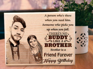 Personalized Engraved Wooden Frame with Photo and Carved Mes...