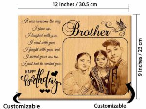 Customized Engraved Wooden Photo Frame with Carved Message H...