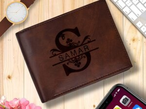 Personalized Name Wallets for Men (Brown)