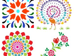 Combo of Rangoli Stencils for Diwali Floor Decoration Items with 6 Colors (Wood, 30×30 cm, Set of 5)