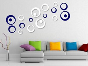 3D Decorative Wall Stickers (Blue and White – 20 pcs)